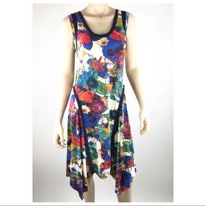 Three Dots Floral Tank Midi Dress Contrasting Trim
